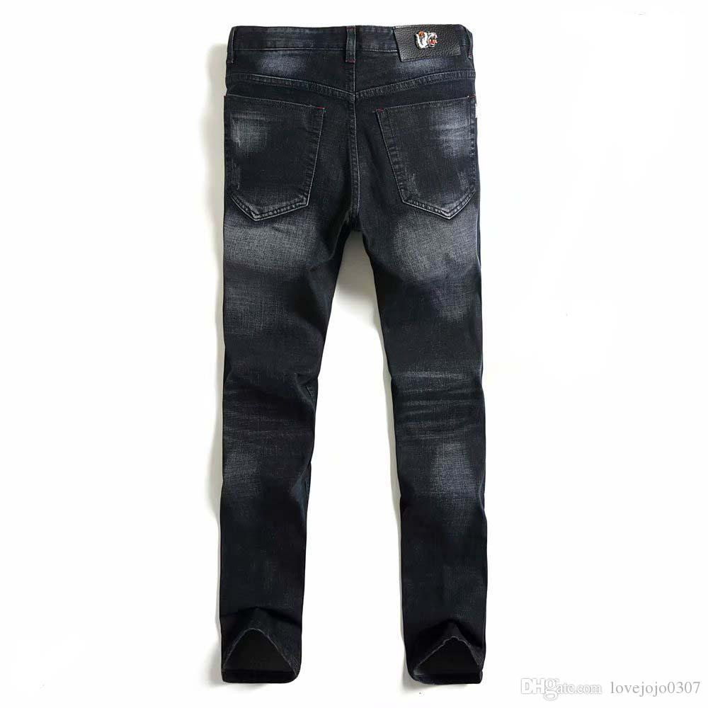 c5938acd Black Brand Designer Mens Straight Denim Jeans Tiger Embroidery ...
