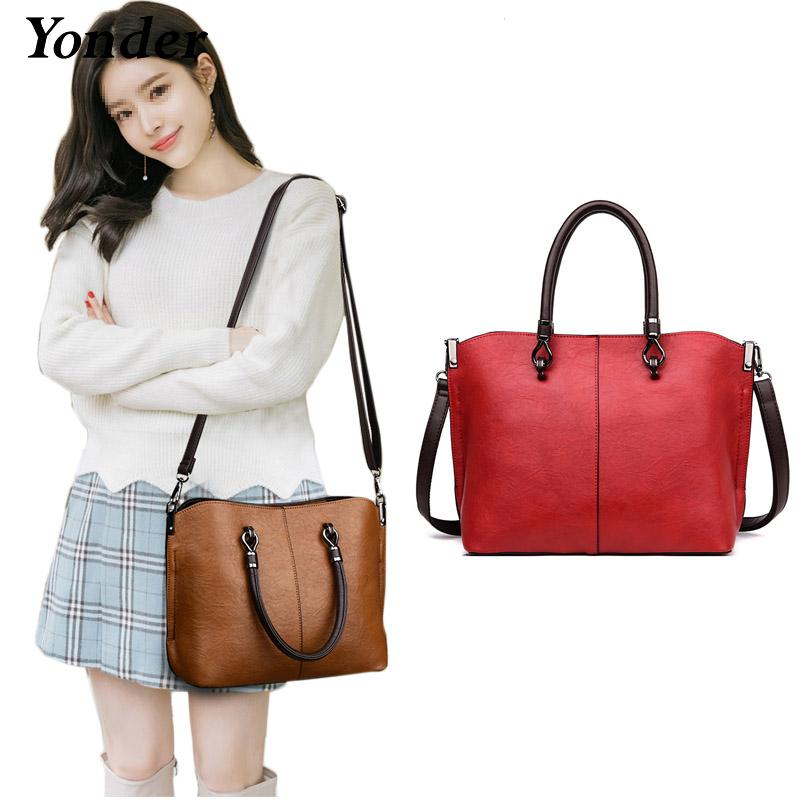 Yonder New Brand Women Handbag Fashion Designer Vintage Bag Ladies PU  Leather Tote Bag Solid Shoulder Crossbody Bags Black Wine Handbag Wholesale  Hobo ... 21c1632a2812d
