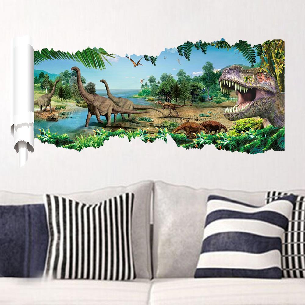3d dinosaurs through the wall stickers home decoration diy cartoon kids room 1458 wall decal movie mural art