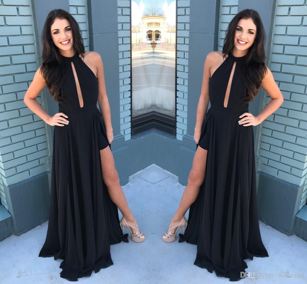 Elegant Black Keyhole Neck Long Prom Dresses Sexy Hollow Out Thigh High Side Split Prom Evening Gowns Cheap Party Gowns