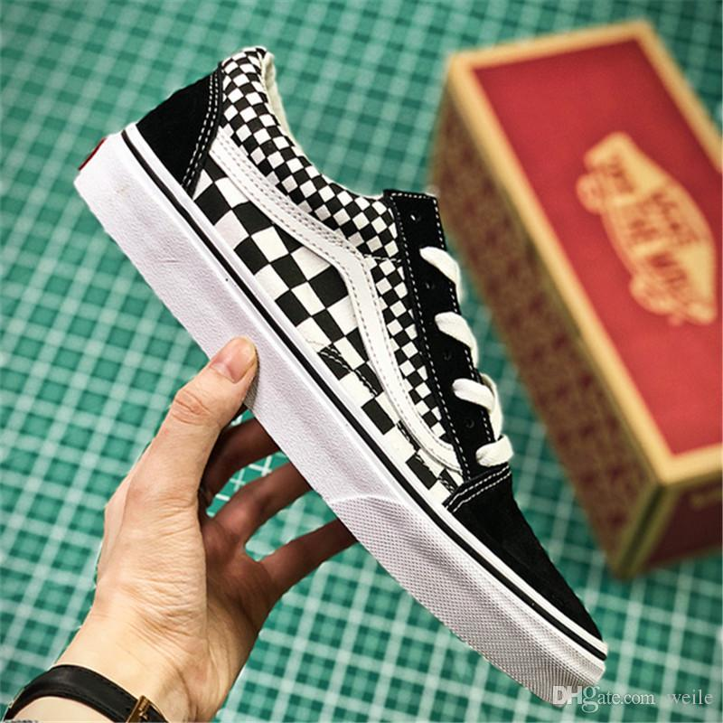 6f03bf1d5d41 2019 Old Skool Women Men Skateboarding Shoes Black And White Checkered  Sports Shoes Canvas Skate Mens Womens Running Shoes Size 36 44 From Weile
