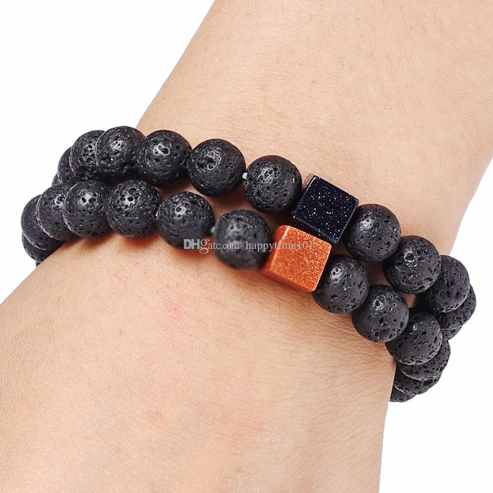Trendy Square Golden Sand Natural Black Lava Stone Beads Elastic Bracelets In Bangles For Women Men Volcanic Rock Beaded Hand Strings