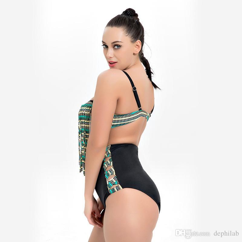 Plus Size Swimwear For Women High Waist Tassel Bikini Big Size Swimsuit body Beach Bathing Suit