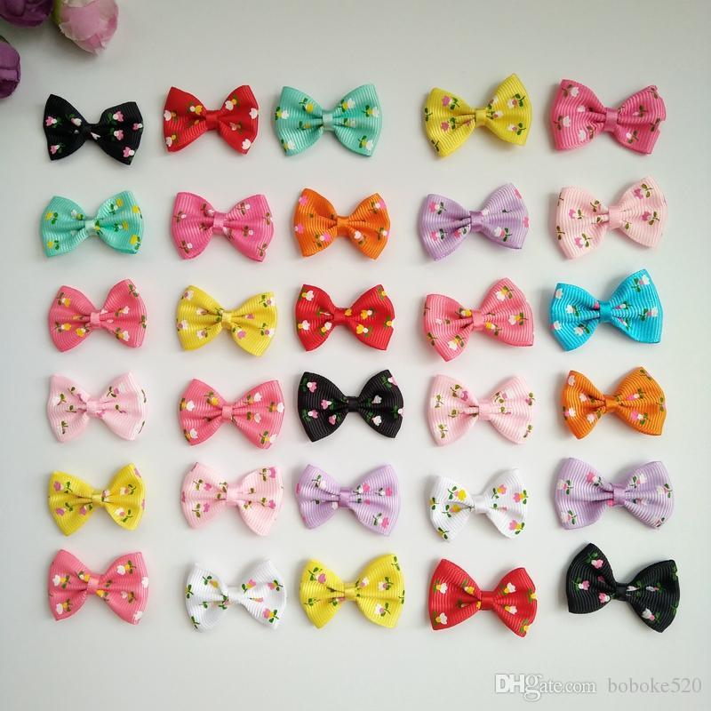 fbe60753c171 1.4inch Print Flower Hair Bows Clips Ribbon Barrettes Hair Pins For ...