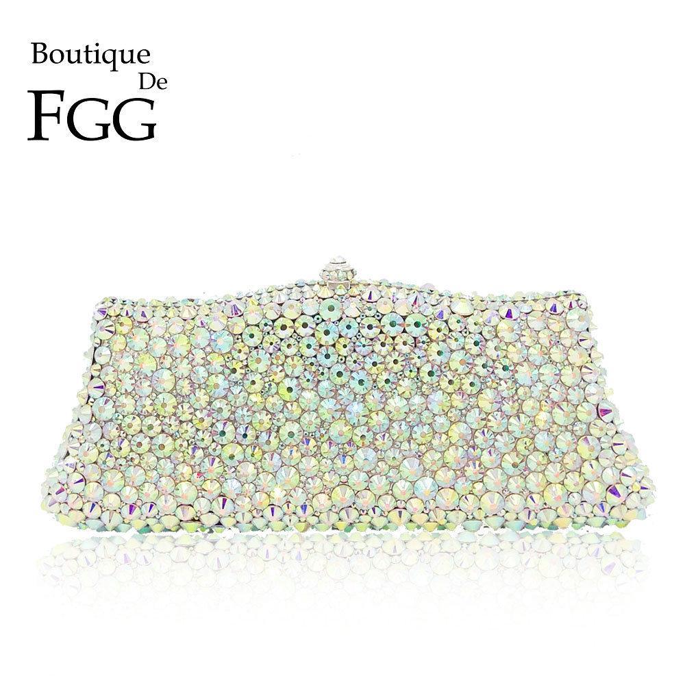 Boutique De FGG Sparkling Dazzling Silver AB Crystal Women Evening Purses  Handbag Wedding Party Dinner Bridal Diamond Clutch Bag S921 Branded Bags  Evening ... 2649d2997076