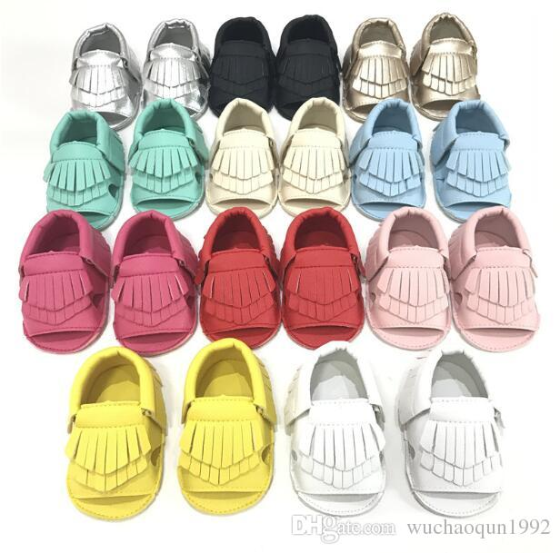 EMS New cow leather Infant open toe mocassions sandals baby tassels boot booties infant suded leather 2layer fringe shoes