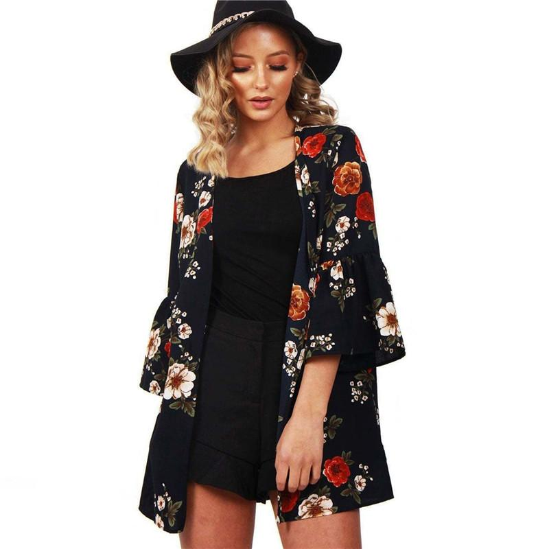 56500c31236a8 2018 Summer Cardigan Women Casual Kimono Floral Print Chiffon Blouse Loose  Flare Long Sleeve Shirts Sexy Bow Collar Ladies Tops