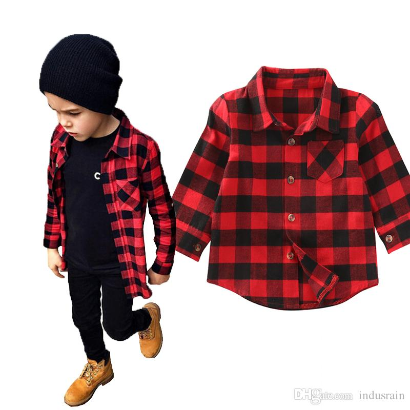 e79b9e7bed96 Kid Long Sleeve Plaids Shirts Child Kids Boys Girl Unisex Shirt ...