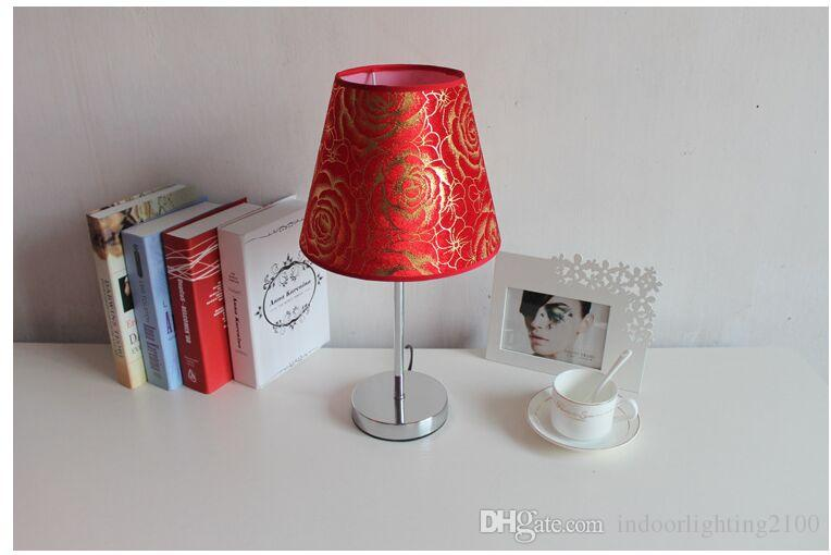 Simple Style E27 Sockets Fabric Red Flower Lampshade Metal Base Table Lamps Led Night Ligthts Lamp Beside Lighting