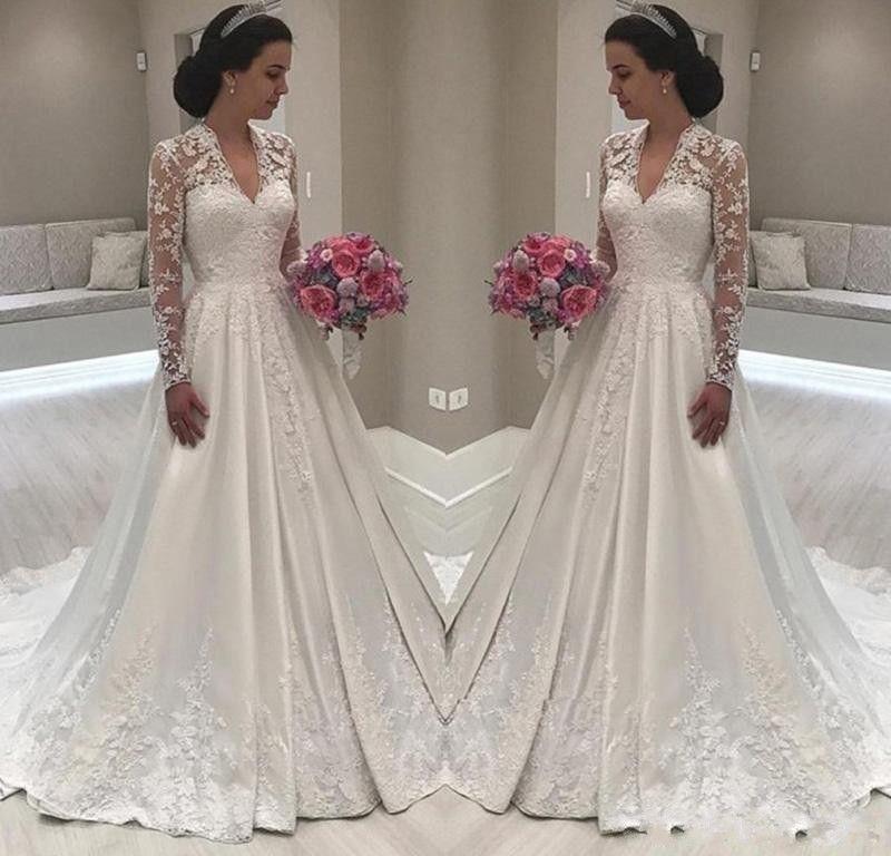 Discount 2019 Modest Simple A Line Wedding Dresses Cheap