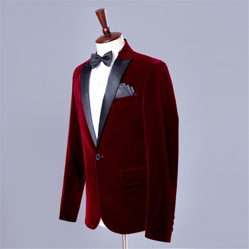 huge discount c8a5a a61e1 Giacche Uomo Vestito bordeaux Giacca smoking bordeaux Vino Rosso Giacca  Costume Homme Giacca uomo in velluto Giacca sportiva Masculino