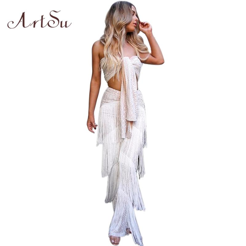ab4dc0e6dce 2019 Wholesale 2018 Sexy Strapless Sleeveless Long Jumpsuit White Fashion  Tassel Bow Lace Up Two Piece Set Crop Top Outfits ASSU30130 From Meinuo110