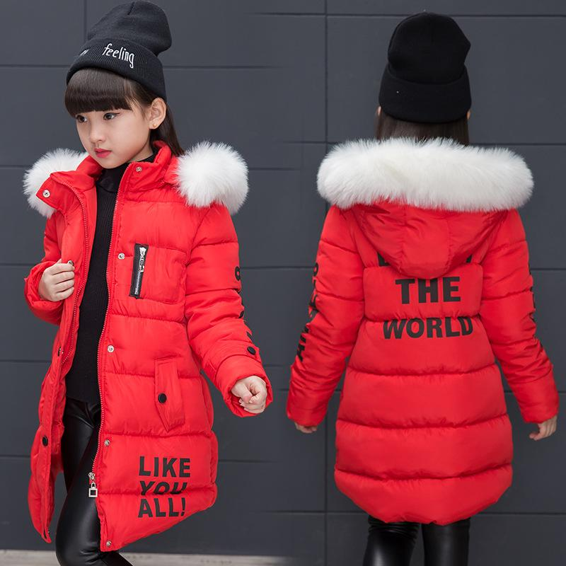 Kindstraum 2017 Kids Warm Down Parkas Brand Children Fur Hooded Clothes Winter Print Letters Wear for Girls,RC1598