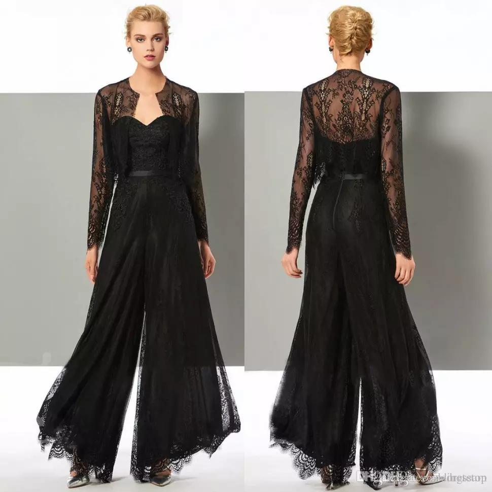63b367e37040 Acheter Chic Noir Dentelle Jumpsuit Mère De La Mariée Pantalon Costumes De  Cou Cou Cou Robes De Mariage Avec Des Vestes Plus La Taille Mères Robes De  Mariée ...
