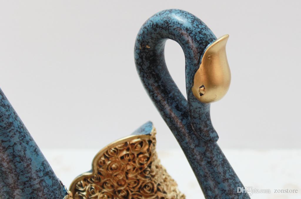 زوجان من بجعة تمثال الاكسسوارات الحرفية الديكور المنزل الذهبي سوان تمثال بجعة الراتنج الزفاف ديكور الحرف هدايا