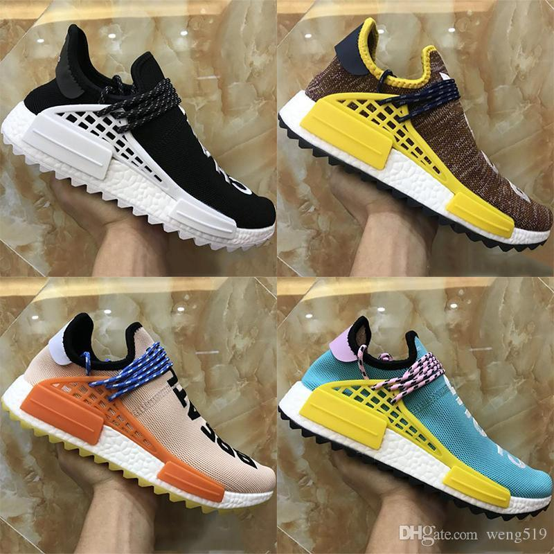 10d2f8d5d 2018 Human Race Factory Real Yellow Red Black Orange Men Pharrell Williams  X Human Race Running Shoes Sneakers Size 36 46 Toddler Running Shoes Boys  Sports ...