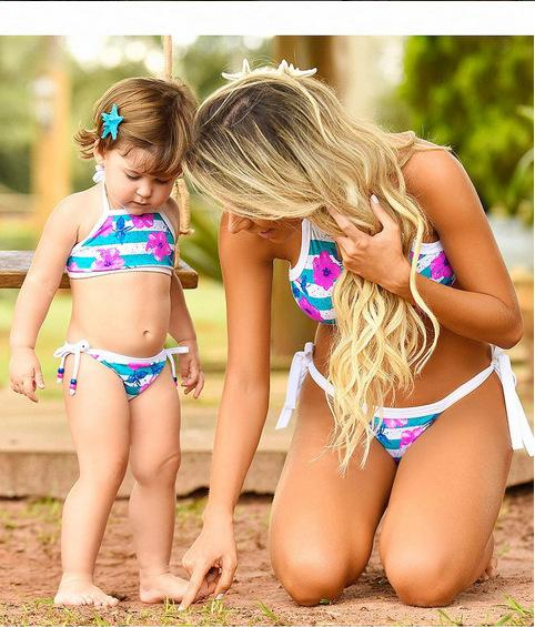 summer mother and daughter clothes set floral family matching swimsuit bikini Swimwear family look mother son outfits clothes