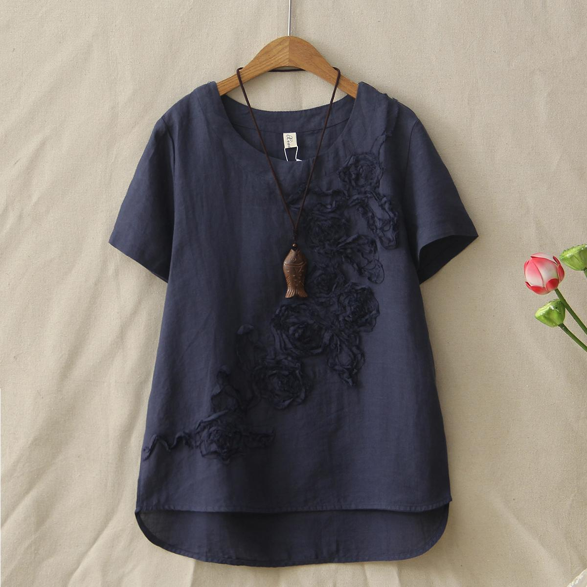 d1506c253fe7 Summer New Cotton And Linen T Shirt Female Short Sleeved Fashion Flower  Embroidery Tops Womens Tee Shirts Irregular Clothing Online T Shirt Buy  Joke T Shirt ...