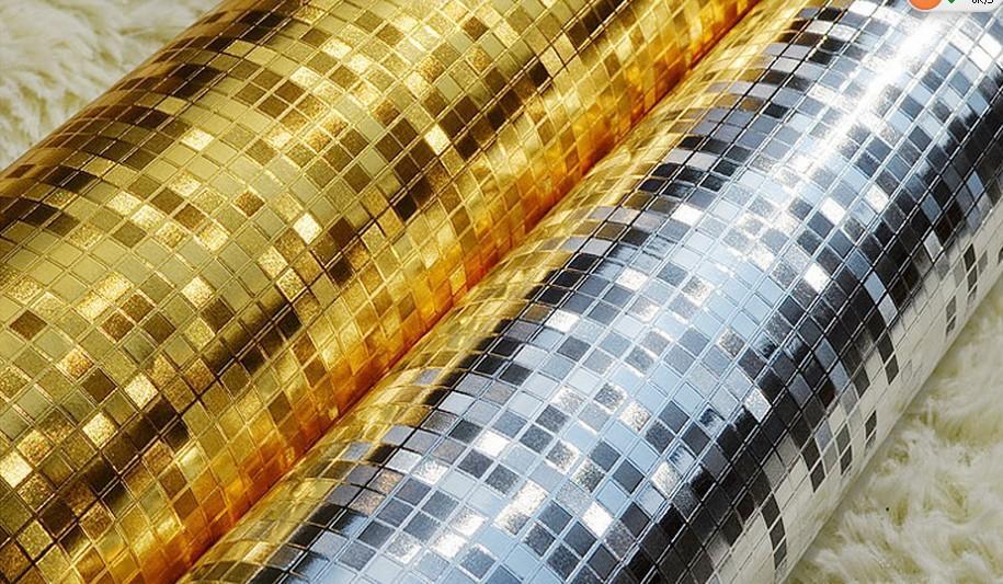 Carta Da Parati Moderna Argento : Acquista moderna carta da parati a mosaico dorato in rilievo d