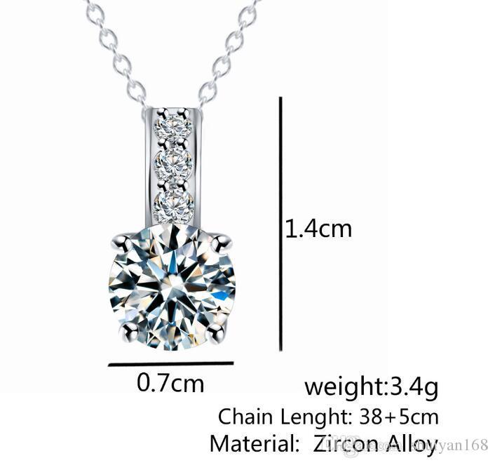 DHL Women Diamond Pendant Necklace Gold Silver Zircon Pendant Necklace Simple Jewelry for Bride Wedding Party Decoration