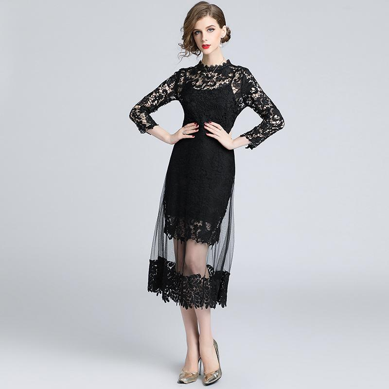 c4093f015e Cocktail Dresses Women Formal Prom Lace Dress Long Sleeve Hollow Out ...