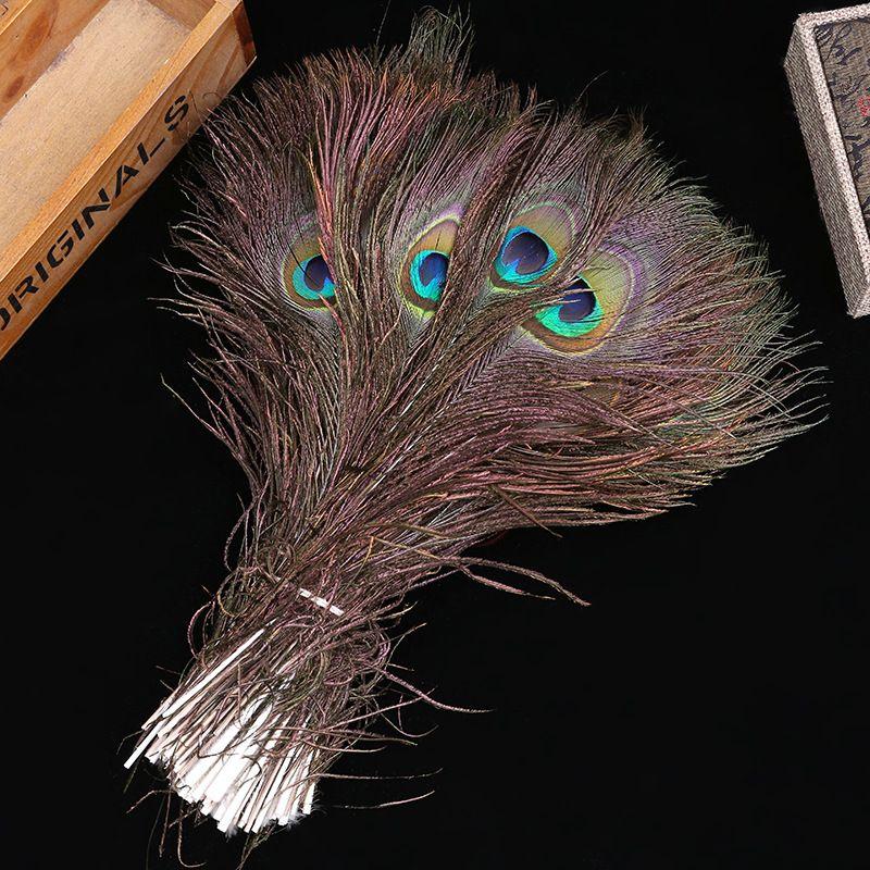 50 unids Pluma de Pavo Real Real Recortada Grandes Ojos Disfraces Collar Pendientes Accesorios de Boda Decorativa 10-12 pulgadas 25-30 cm