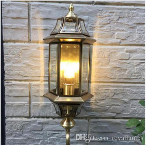 hot sale online 9d0ac 11781 1 pcs retro copper wall lamp indoor & outdoor lighting vintage wall light  waterproof garden light bedroom Balcony wall sconce