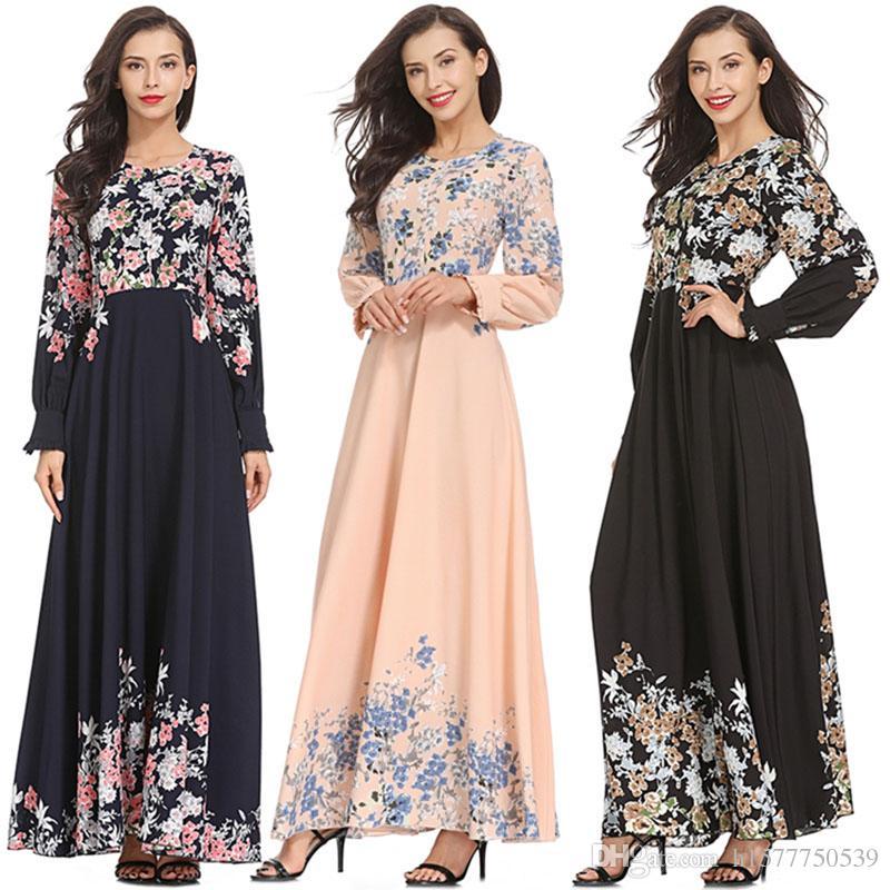 35107a9c0ed6 Acquista Moda Abiti Da Donna Musulmana Adulti Eleganti Slim Vestito Rosa  Medio Oriente Abaya Dubai Kaftan Signora Islamica Stampato Abiti Lunghi A   26.24 ...