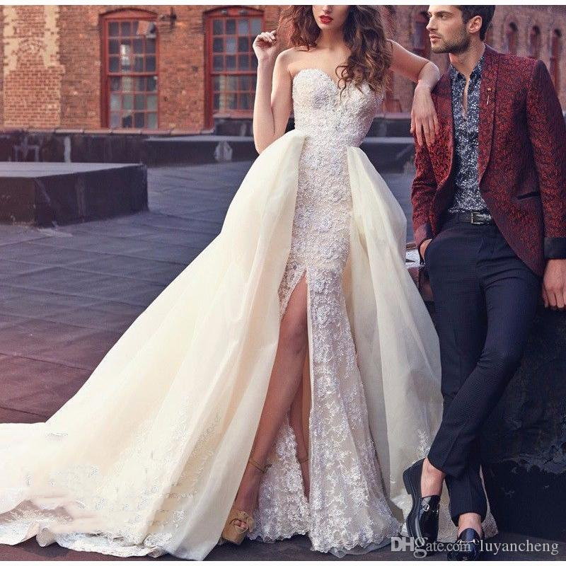 Luxury Vintage Sweetheart Lace Beaded A line Wedding Dresses detachable Train Side Slit Dress 2018 vestido de noiva Bridal Wedding Gowns