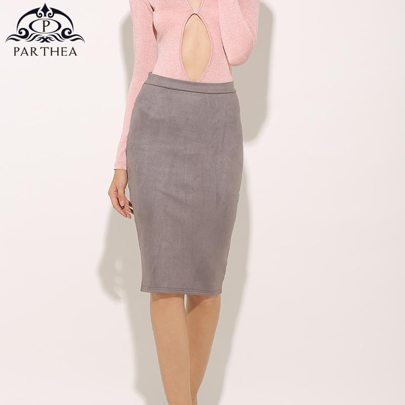 0d12c9852a8 2019 Parthea Sexy Faux Suede Pencil Skirt Women High Waist Midi Skirts  Fashion Back Zipper Summer Spring Bodycon Girls Leather Skirts From  Vanilla10