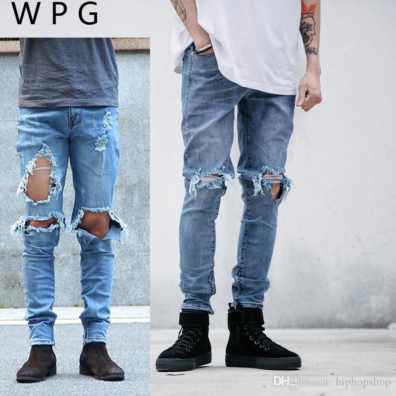 Compre Hip Hop Moda Para Hombre Fresco Ropa Urbana Mono Hombres Cremallera  Agujero Roto Estrella De Rock Dios Jeans Con Algunos Agujeros Agujeros  Pantalones ... a12bd80a16c