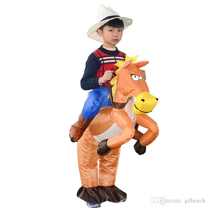 wholesale child inflatable cowboy costume ride on horse fancy dress halloween cosplay jumpsuit party carnaval for kids group themed costumes 3 person