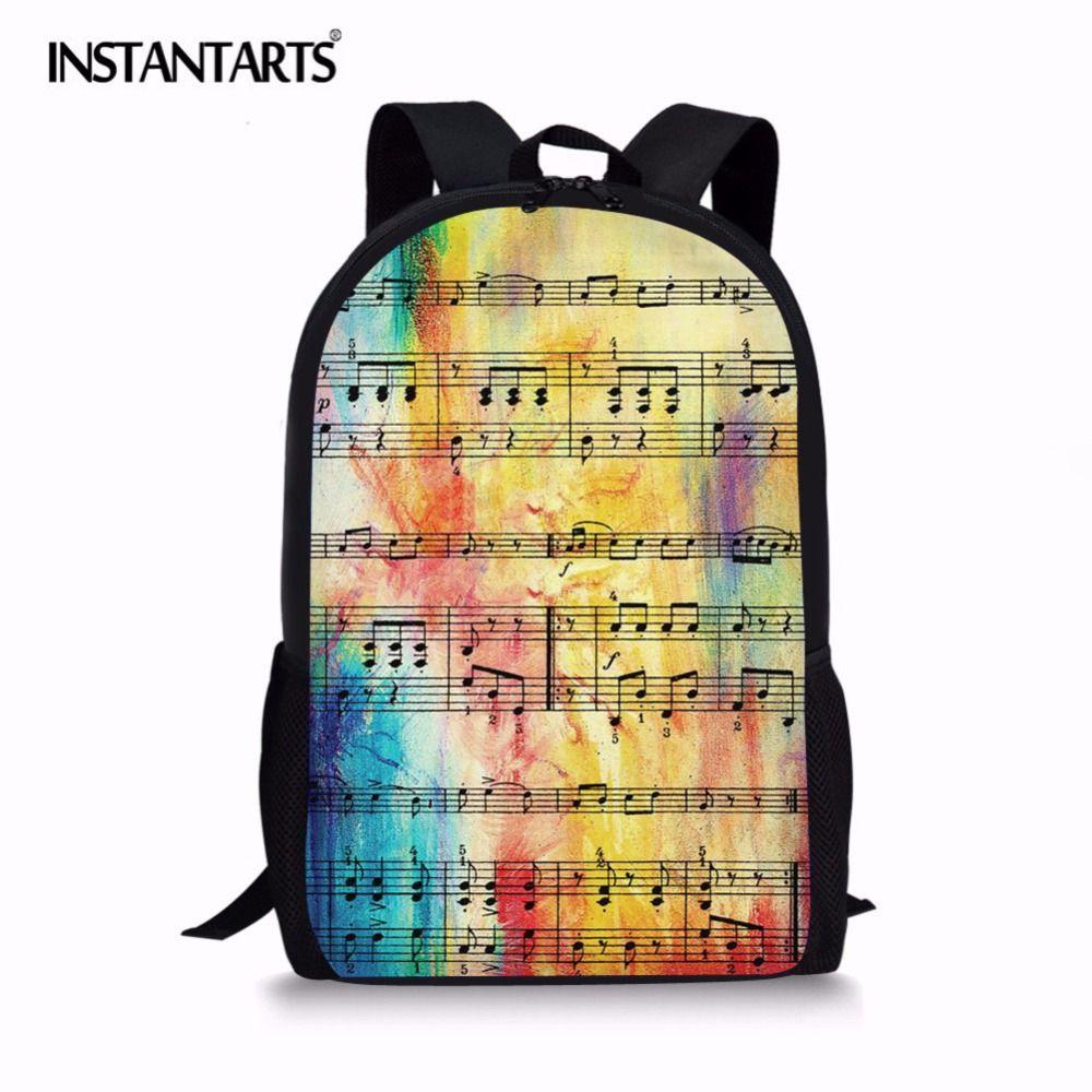 INSTANTARTS Rainbow Sheet Music Printed Fashion Backpack Large Capacity  Girls Boys School Bag Kids Travel Laptop Knapsack Bags Girls Backpacks For  School ... ba935e1f33