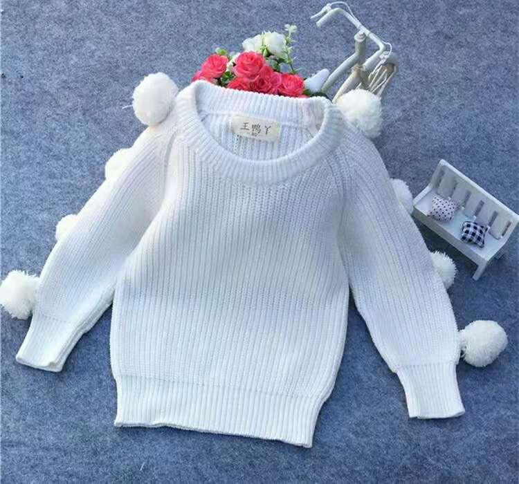 4ed51ceea554 Spring Autumn Winter White Infant Baby Sweaters Hair Ball Cotton ...