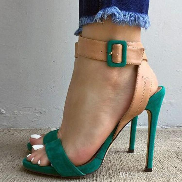 e3b60400cfd Flock Gladiator Women Sandals Sexy High Heel Peep Toe Buckle Strap Pumps  Summer Party Club Women Sandals Green Red High Heels Shoes Green Shoes From  ...