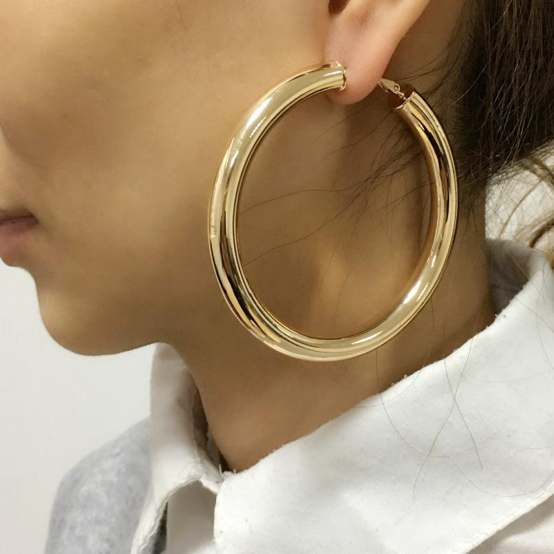 2019 Big Hoop MANILAI Classic 70mm Diameter Wide Copper Big Hoop Fashion Jewelry  Statement Earrings For Women 2018 Brincos Punk From Ornaments store 72e4d1778e47