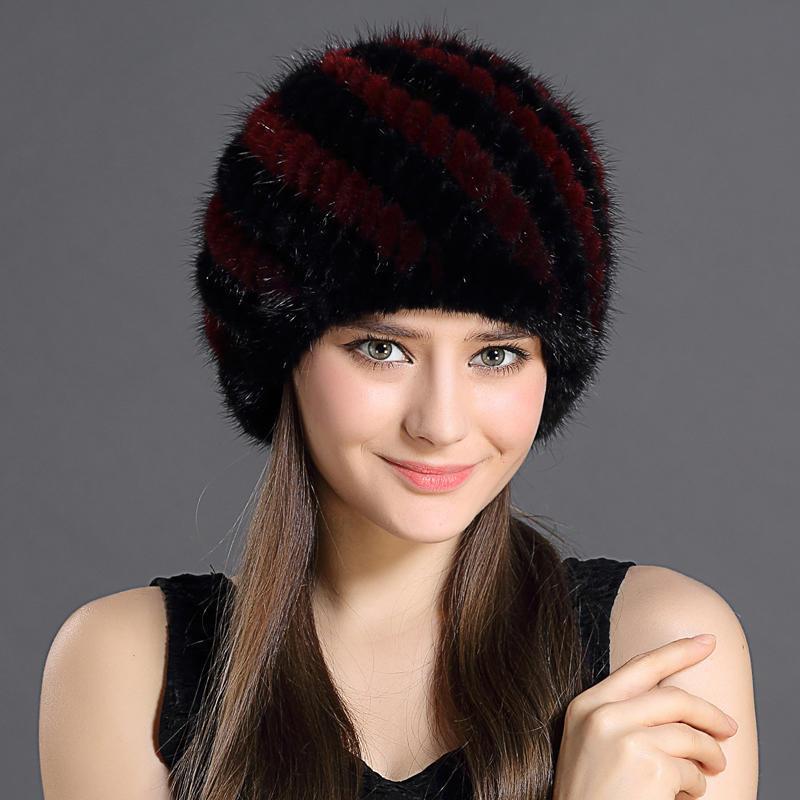 cea4d535f761 Зима теплая мода женщин искусственного кролика меховые шапки с полосой  дизайн ...