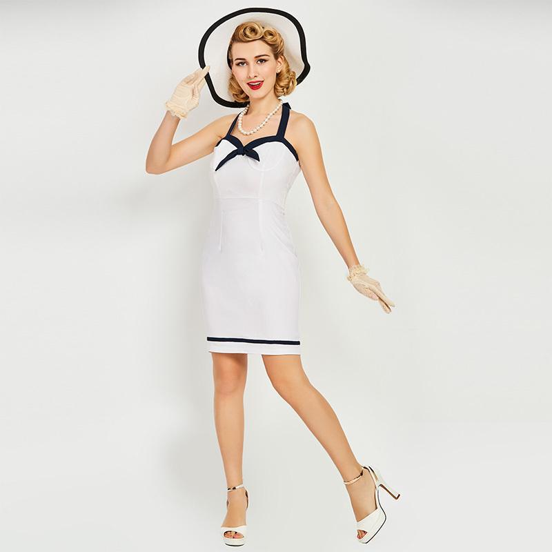 Sexy Vintage1950s Großhandel Frauen Kleid Knielangen Solide Weißes QWoerCxBd
