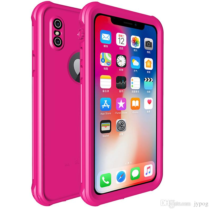 For iPhone XS XR Case Waterproof Defender Color Case Under Water Full Sealed Cover Shockproof Snowproof Dirtproof Case with Screen Protector