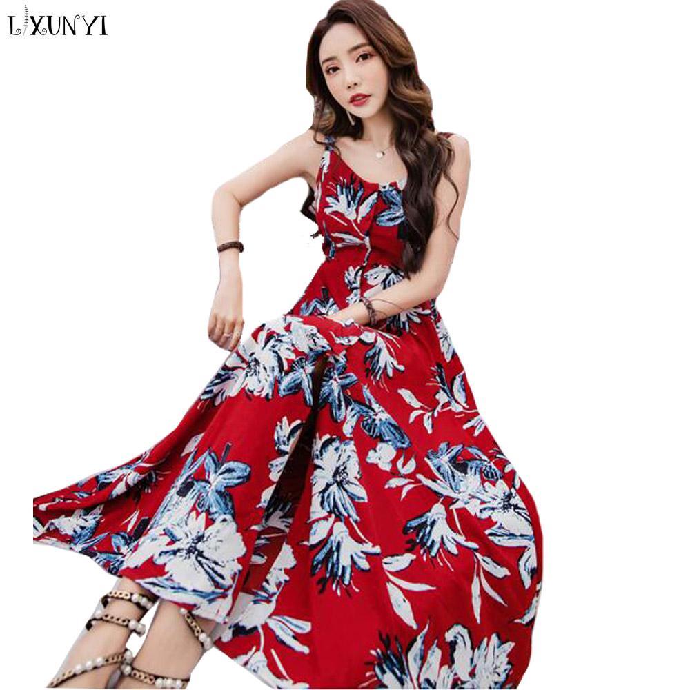 09185b1418 2019 LXUNYI Women Summer Sexy Maxi Dress Backless Flower Print Bohemia Long  Dress Chiffon Korean Ladies Summer Printed Dresses From Moussy, $48.1    DHgate.