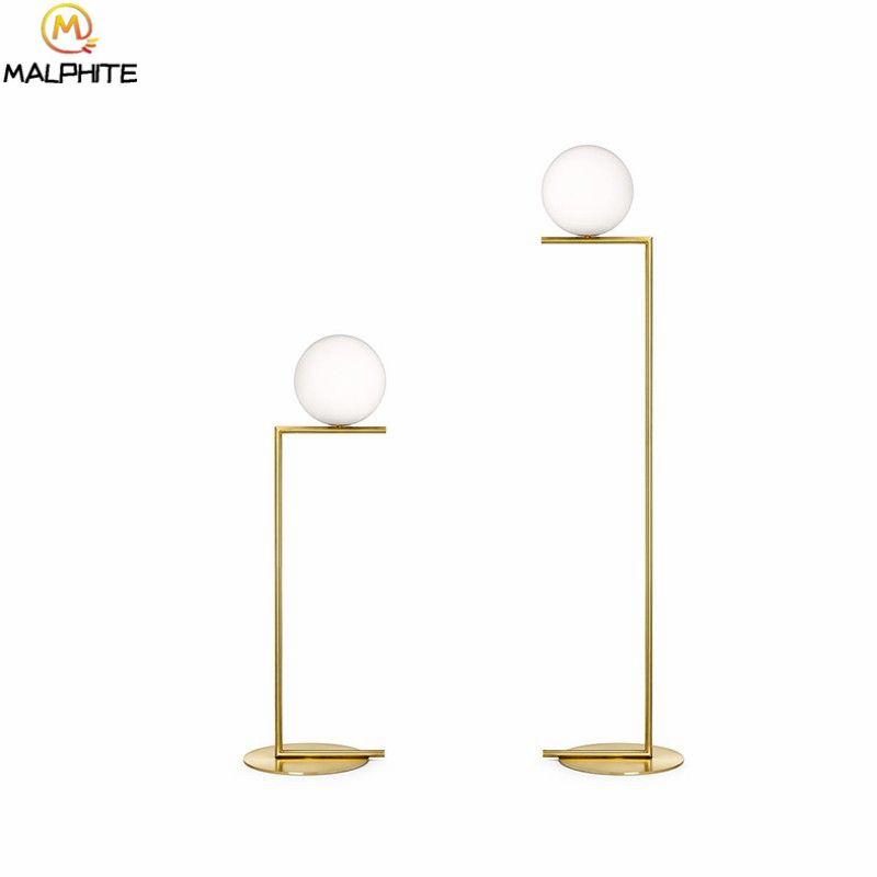 2019 Post Modern Led Floor Lamps Nordic Luster White Glass Staande Lamp  Living Room Bedside Gold Deco Lighting Fixtures Standing Lamp From  Samanthe, ...