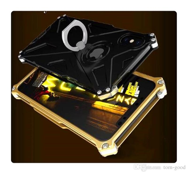 the latest e70e7 4b34d CNC Made Metal Case Hard Aluminum Defense Shock Proof Mobile Cell Phone  Cases Cover With Hole With Stand Ring For iphone 7/ 8plus