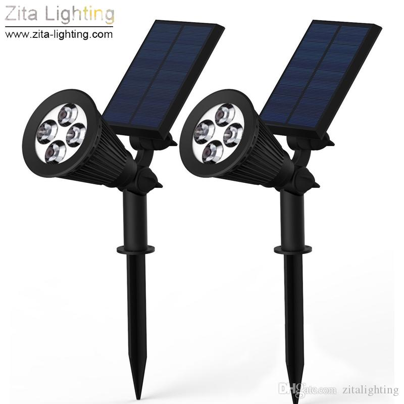 2 Pçs / lote Zita Iluminação CONDUZIU a Luz Solar Ao Ar Livre Indoor Spotlight RGB Gramado Jardim Lâmpada Paisagem 4 LED Super Brilhante Energia Solar Pathway lâmpada