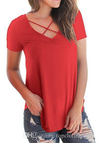 En kaliteli kadın Artı Boyutu Gevşek T-shirt kadın Sıcak v yaka pamuk Düzensiz Çapraz rahat T-shirt bluz S-2XL 9 renkler