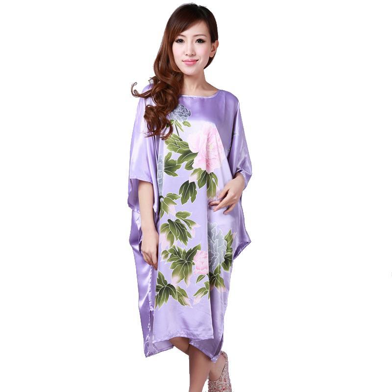 6231fb3175dc 2019 Hot Sale Purple Summer Chinese Women s Nightgown Silk Rayon Bath Robe  Dress Kimono Gown Flower Sleepwear Plus Size 6XL S0110 From Zhusa