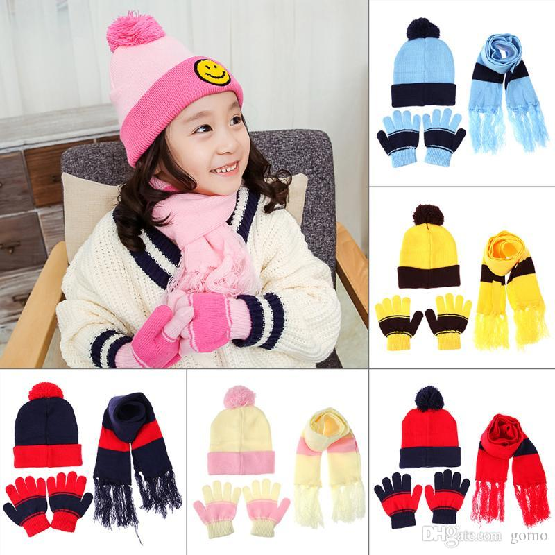 955c40cd7655c 2019 Children Hat Scarf Gloves Set Autumn Winter Warm Wool Knitted Baby Hat  Neck Warmer Fashion Skull Beanies For Children Kids From Gomo