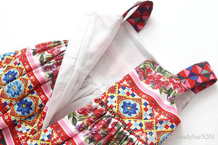 Party Dresses for Kids Girls Flower Dress 2-7T Toddler Princess Vest Dress with Bag 2018 New Infant Children Clothing D671