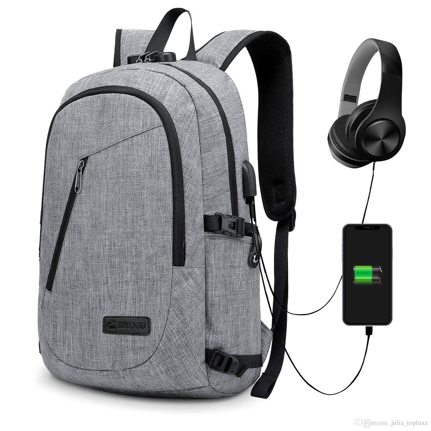 Anti Theft Backpack Theft Business Laptop Backpack With USB Charging Port  And Earphone Port With Lock Slim Water Resistant Bag Daypack Cool Backpacks  ... e41161ac508b1
