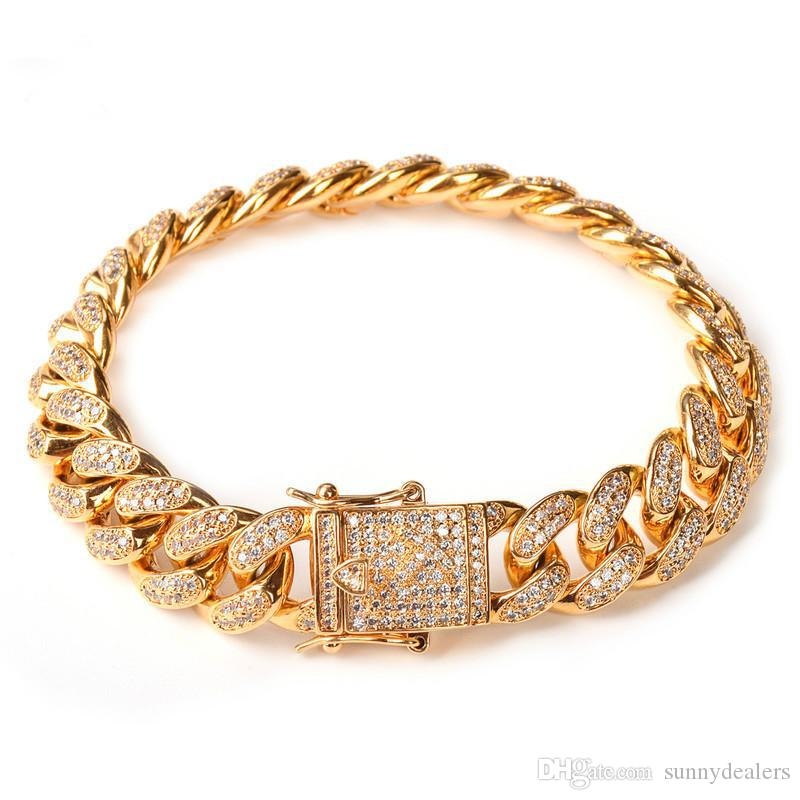 14MM Curb Cuban Link Bracelet Gold Silver Thick Heavy Copper Material Iced Out CZ Chain Bracelet