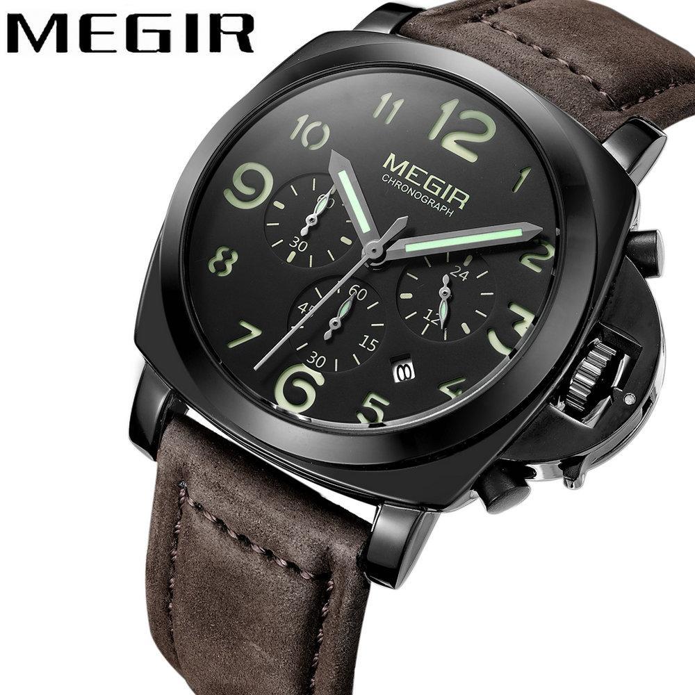 9f0f0279274b2 Compre MEGIR 2018 Casual Relógio De Moda Homens Relógio De Quartzo  Cronógrafo 3 Sub Dials 6 Mãos Top Marca De Luxo À Prova D  Água Relógio De  Pulso De Couro ...